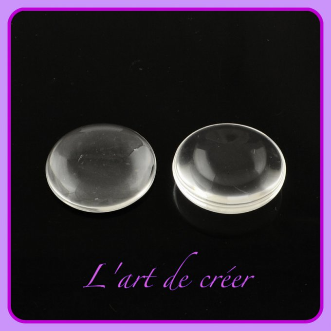 10 cabochons loupes 25 mm transparents en verre