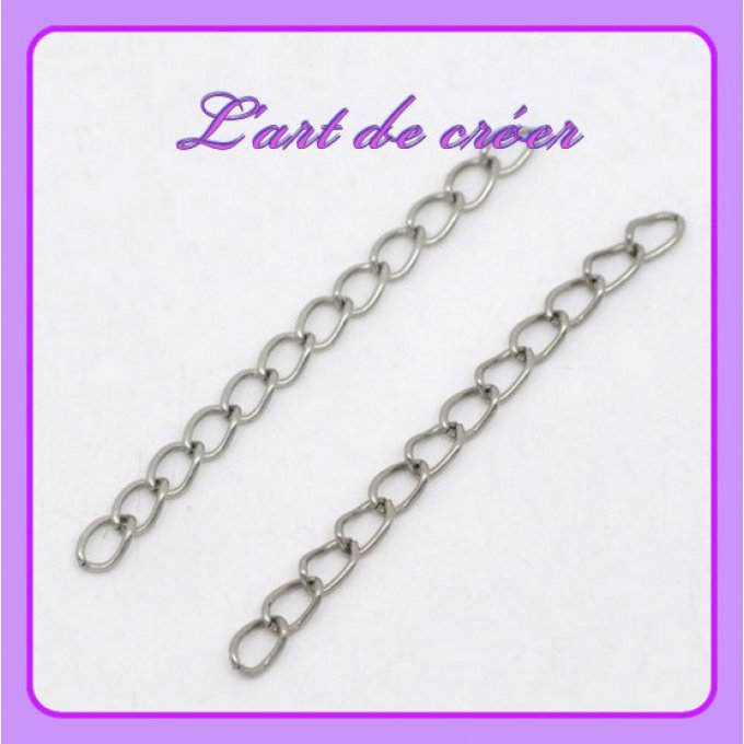 40 chainettes d'extension  50 x 3,5 mm , argent